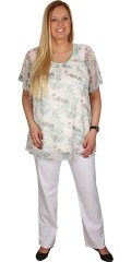 Zhenzi - Tunica blouse with short sleeves and round neck also slit in the neck and hard sewn slip