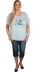 Zhenzi - T-shirt med rund hals og flot blomster motiv foran