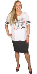 Zhenzi - T-shirt with v cutting and sporty stripes in the sleeves and flowers print front