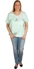 Zhenzi - T-shirt med rund hals og elastik forneden, og med sommerfugletryk foran