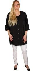 Zhenzi - Flot skjorte / jakke med rund hals og 3/4 ærmer