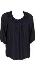 DNY (Marc Lauge) - Midnight blue becca blouse, fine shirt blouse with chrocheted badge in the neck, 3/4 sleeves with elastic closure