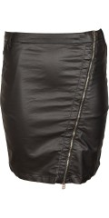 Cassiopeia - Black coated skirt with pockets and belt straps also adjustable rubber band in the waist.
