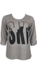Zhenzi - T-shirt med tryk og sten, rund hals samt 3/4 ærmer med smart rynke effekt