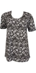 Zhenzi - Smart t-shirt with short sleeves and nice floral print. Longer in the back than front