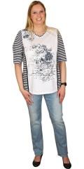 Handberg - T-shirt med flot print, v-hals og smarte striber