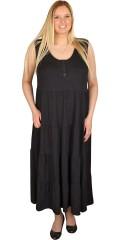 Handberg - Lang kjole uden ærmer og med rund hals og stolpelukning med knapper