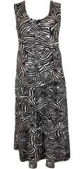 Handberg - Lång klänning utan ärmar med stolpeknäppning och bra vidd i våning kjolen