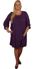 Gozzip - Nice crepe dress with round neck and smart 3/4 sleeves