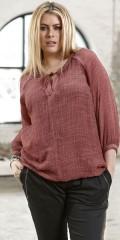 Zhenzi - Bluse med 3/4 ærmer i pigment look, med rund hals og nitter, lille stolpelukning med snøre