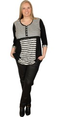 Nais - Stylish tunica with 3/4 sleeves in smart black white colours