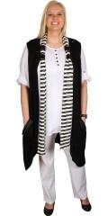 Nais - Cardigan/vest uden ærmer med pynte lynlås ved lommerne og stropper til den løse tørklæde
