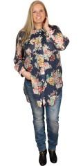 Veto - Flot skjorte med store printet blomster og 2 bryst lommer