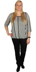 Zhenzi - Nice blouse with 3/4 sleeves and nice print as ends with rubber band at the bottom
