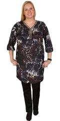 Zhenzi - Tunika kjole med 3/4 ermer, v-hals med sølv pearl ribbon, strikk i ermene