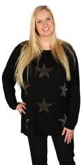 DNY (Marc Lauge) - Knit blouse with round neck and nice stars on front piece