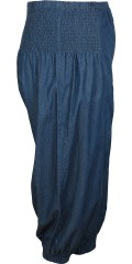 DNY (Marc Lauge) - Tina denim pant stump pants with smock rubber band partial in the waist also at the bottom in trouser leg