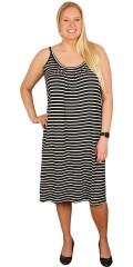 DNY (Marc Lauge) - Sommar klänning med rund hals och band, vacker rynka effekter framsida och på baksidan