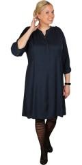 Zhenzi - Söt och enkel bomull klänning med 3/4 ärmar, knytband och stolpeknäppning