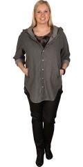 Deluca - Spar 300 kr. pÅ smart tynd skjorte/jakke med hætte i grå denim kvalitet