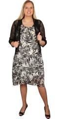 Zhenzi - Chiffon kjole med fastsyet underkjole. asymetrisk afslutning af de to lag chiffon forneden