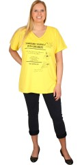 Zhenzi - Oversize t-shirt with v cutting and short sleeves also with print and pearls