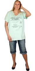 Zhenzi - Oversize t-shirt med v-hals og korte ærmer samt med tryk og perler