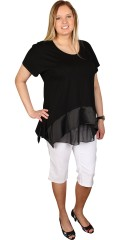 Q´neel - Party t-shirt with round neck, ends with nice satin and chiffon