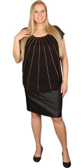 Cassiopeia - Party blouse with tubes pearls in copper, round neck and wing sleeves