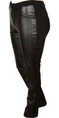 DNY (Marc Lauge) - Leggings med skinn look og strechy materiale. Variabel strikk i taljen