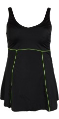 Mirou Swimwear - Flot badekjole med limegrønne pipings