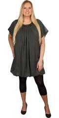 Zhenzi - Flot tunika kjole med tynd elastik forneden, korte ærmer og rund hals med små sten