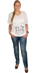"Q´neel - Super smart t-shirts with round neck and print ""think white your heart"""