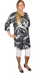 Zhenzi - Fashionabla tunika med 1/2 ärmar och zebraprint