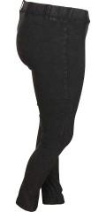 Deluca - Lekker legging (jegging) i svart slitt vask med super strekk og strikk i hele taljen samt beltestropper