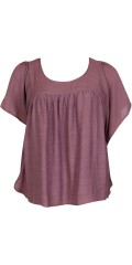 Zizzi - Fine blouse with wing sleeves and hard sewn top under, round neck