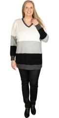 Zhenzi - Pullover strik med v-hals og lange ærmer
