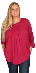Gozzip - Blouse with round neck and 3/4 sleeves