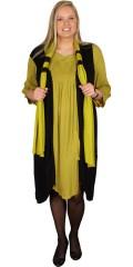 Gozzip - Vacker crepe klänning med rund hals och smart 3/4 ärmar