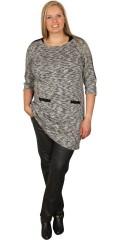 DNY (Marc Lauge) - Tunika klänning med 3/4 ärmar och detaljer i läder utseende