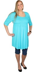 Handberg - Stylish basis tunica with smock at the chest a and 1/2 sleeves