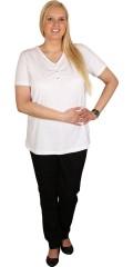 Zhenzi - T-shirt med v-hals og knappe lukning i hals