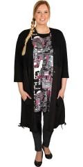 Handberg - Tunika klänning med 3/4 ärmar och rund hals med pyntknappar och vacker mönster i forsidan
