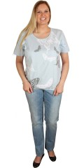 Zhenzi - T-shirt with round neck and rubber band at the bottom, and with butterfly print front