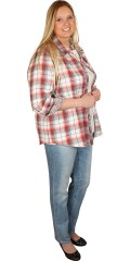 Cassiopeia - Stylish all-buttoned chequered shirt with cuffs and in flowery fabric