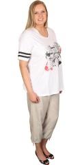 Zhenzi - T-shirt med v-hals og sporty striber i ærmerne og blomster tryk foran