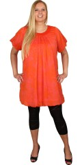 Zhenzi - Tunika klänning med rund hals och korta ärmar, ballong effekt under