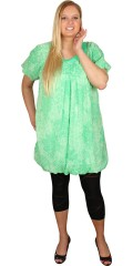 Zhenzi - Tunika kjole med rund hals og korte ærmer, ballon effekt forneden
