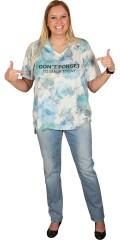 Cassiopeia - T-shirt med v-hals og korte ærmer, rå afslutning