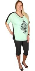 Zhenzi - T-shirt med 2/4 ærmer og smart print samt galon i siden